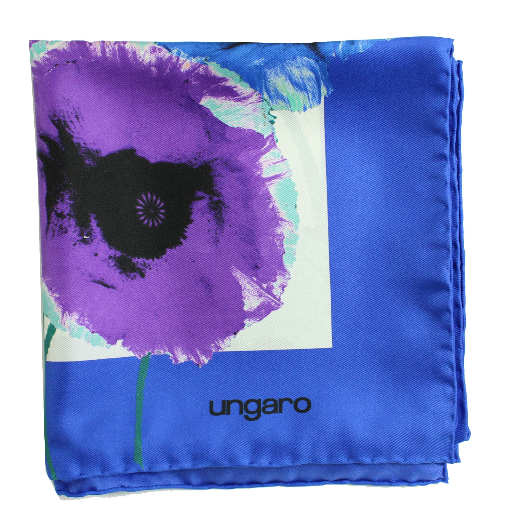Ungaro Scarf Royal Blue Green Purple Floral