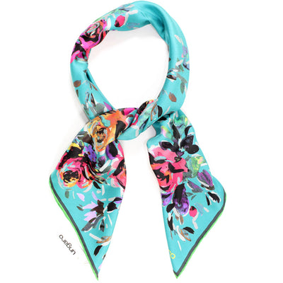 Ungaro Scarf Teal Blue Floral - Large Twill Silk Square Scarf