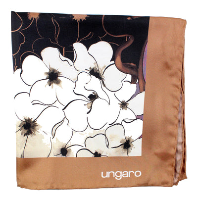 Ungaro Scarf Brown Floral - Large Twill Silk Square Scarf