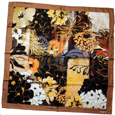 Ungaro Scarf Brown Floral Twill Silk Square Scarf