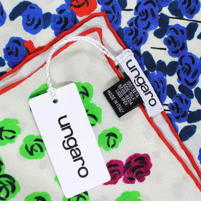Ungaro Scarf White Floral - Large Twill Silk Square Scarf