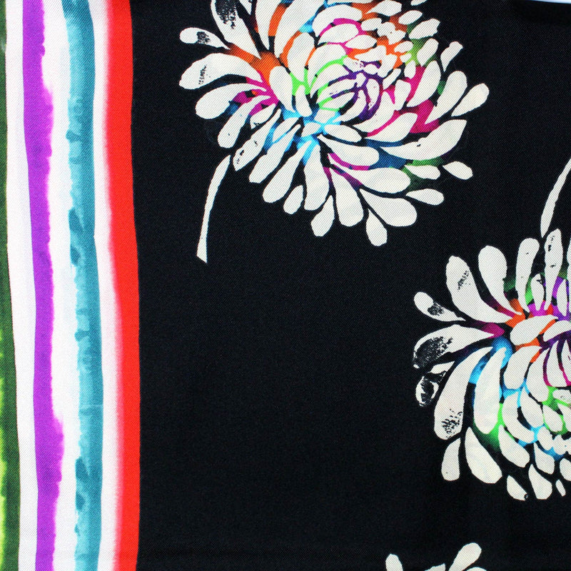 Ungaro Scarf Black Floral Multi Color Stripes