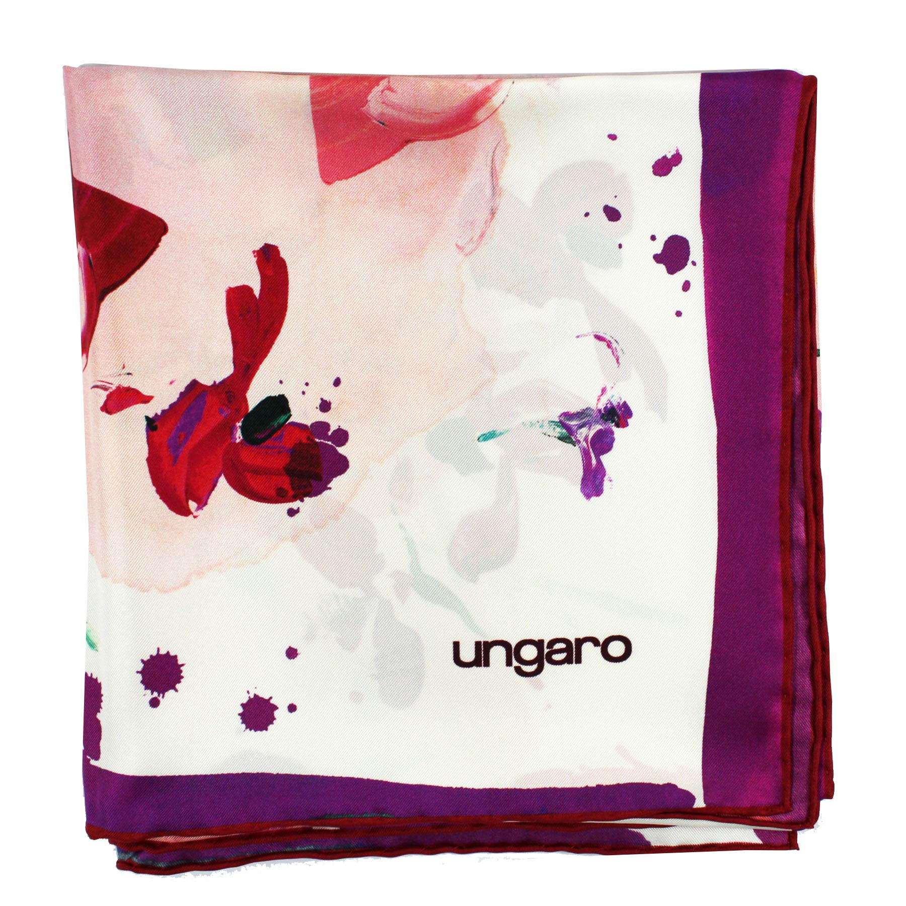 Ungaro Scarf Pink White Fuchsia Floral - Large Twill Silk Square Scarf