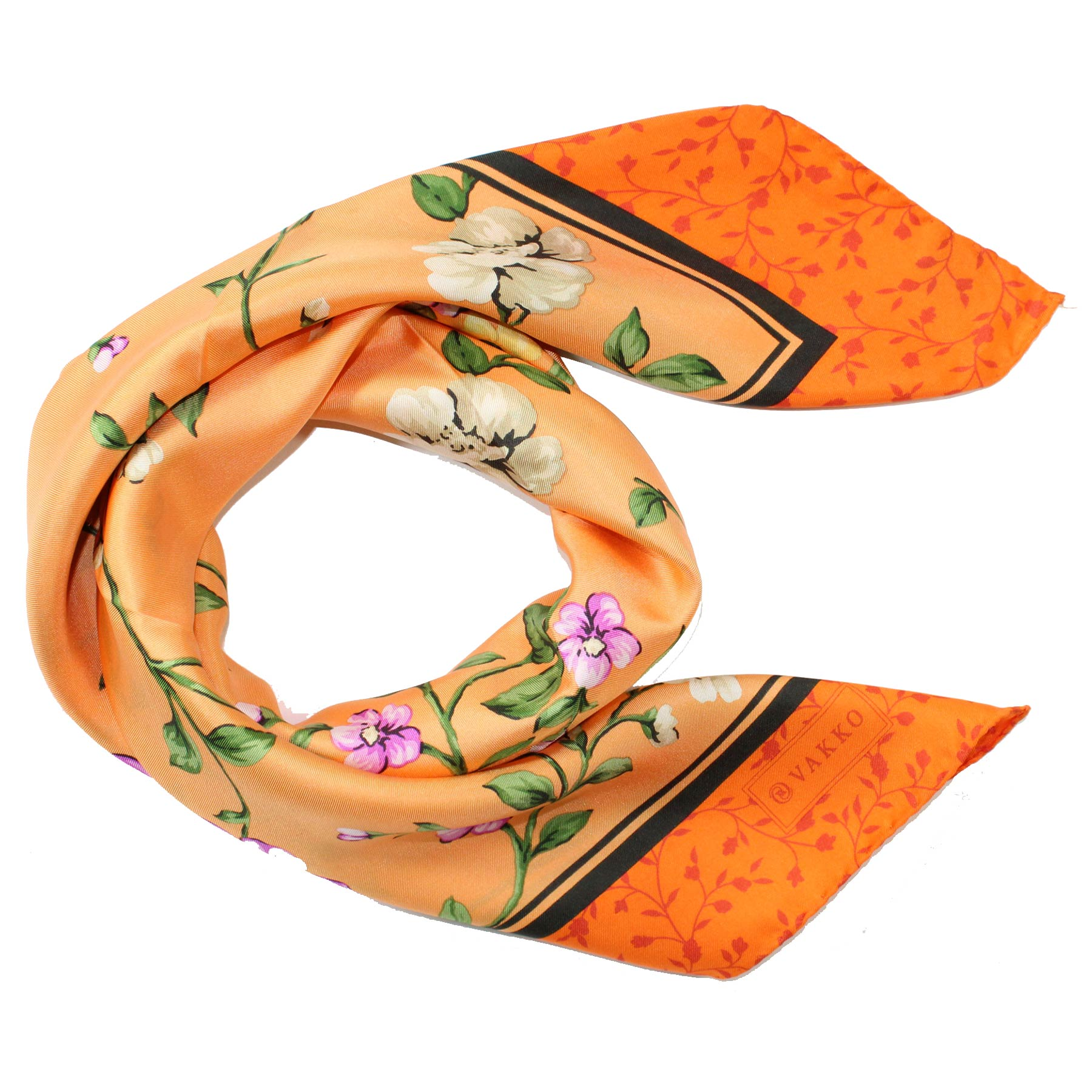 Vakko Scarf Orange Floral Design - Large Silk Square Scarf FINAL SALE
