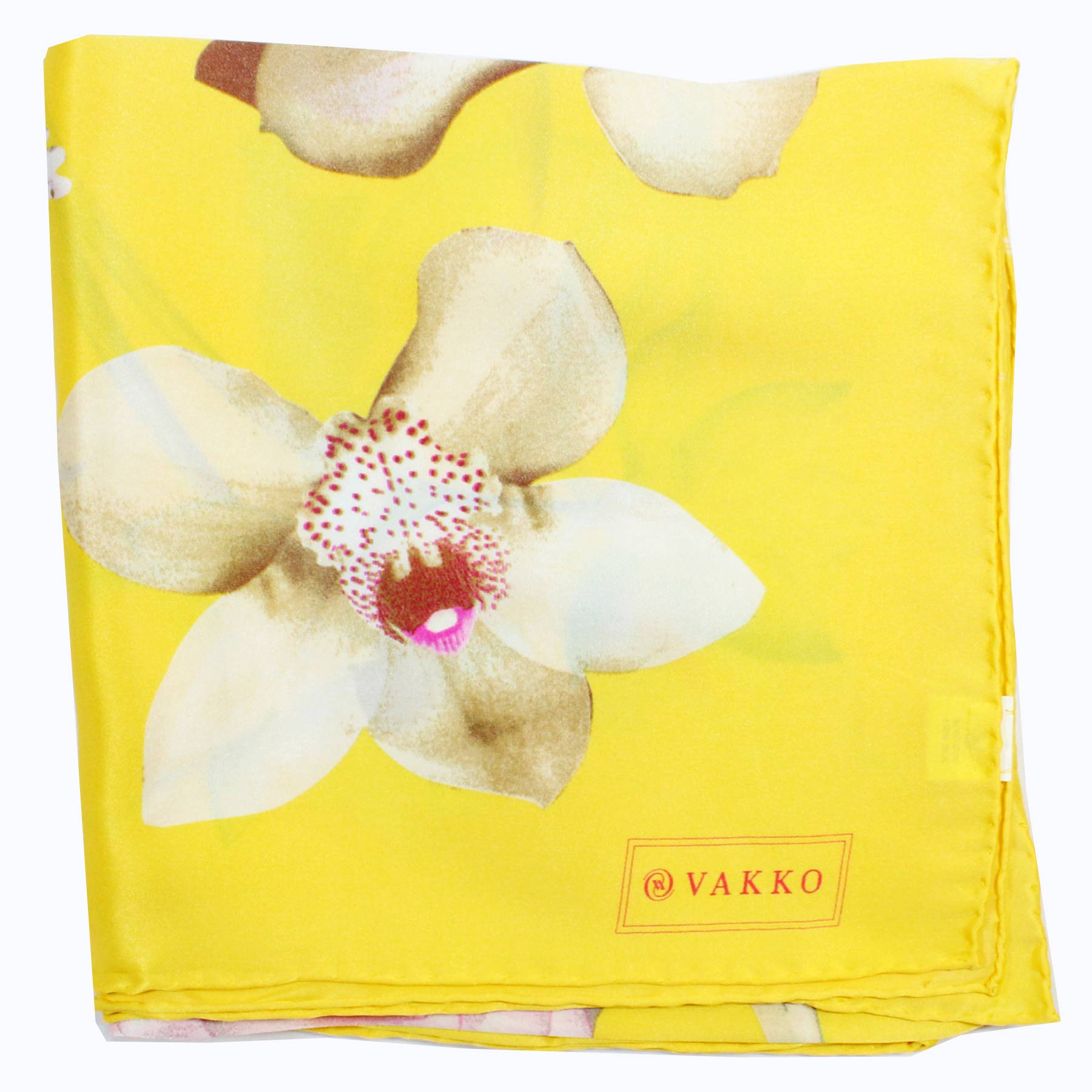 Vakko Scarf Yellow Floral - Large Silk Square Scarf SALE