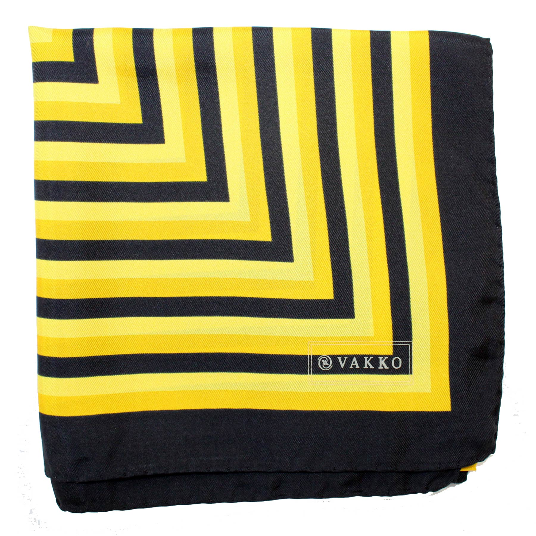 Vakko Scarf Black Bright Orange Stripes Design - Large Silk Square Scarf SALE