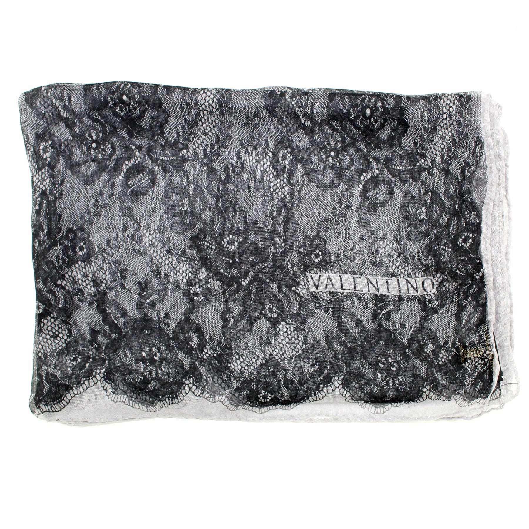 "Valentino Scarf Gray Black ""Lace"" Design"