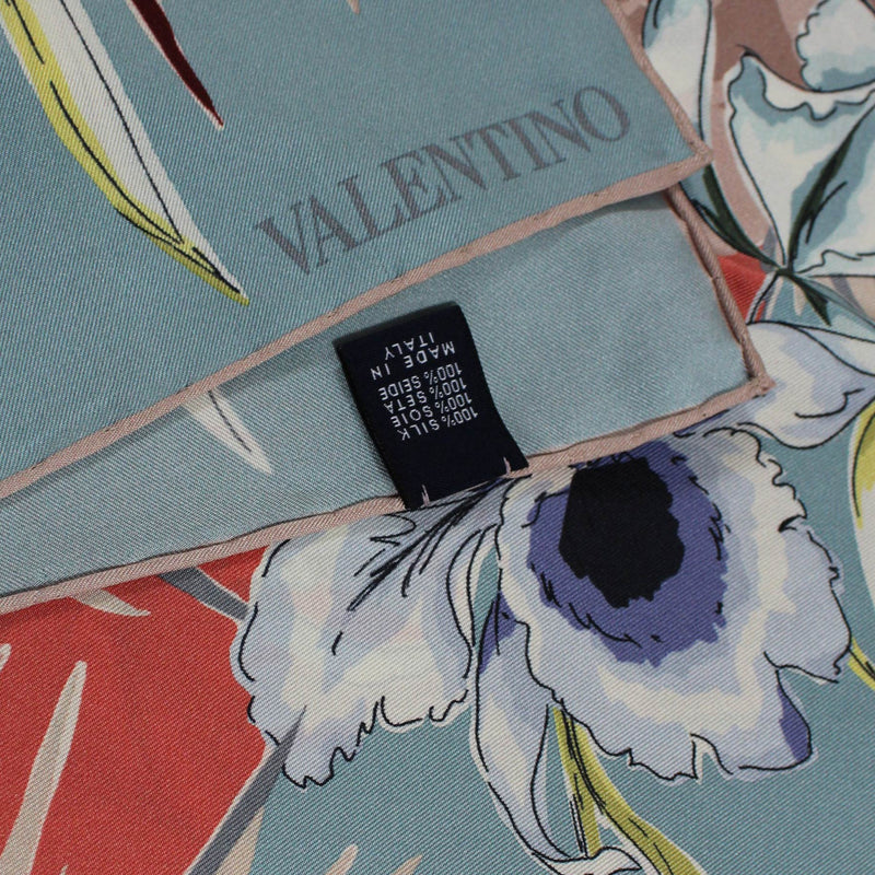 Valentino Scarf Dust Pink Gray Floral  Large Square Silk Scarf