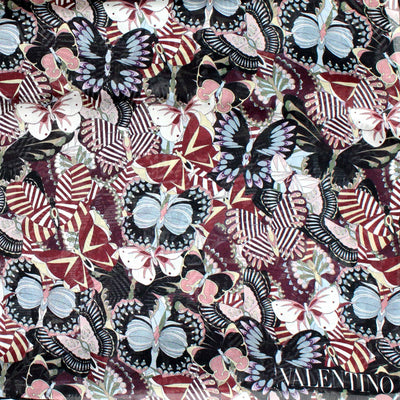 Valentino Scarf Maroon Gray Butterfly