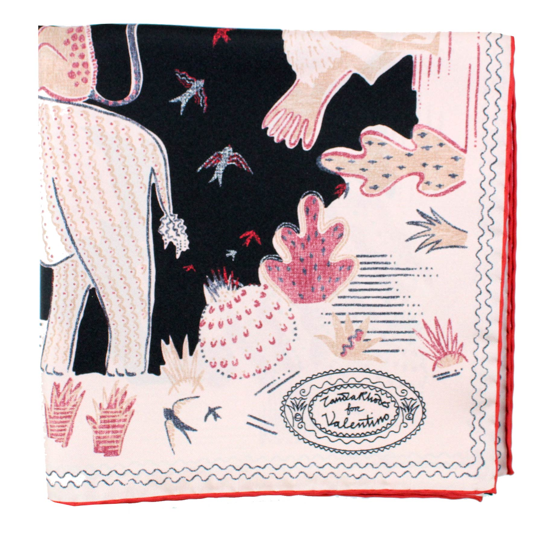 Valentino Scarf Black Dust Pink Animal