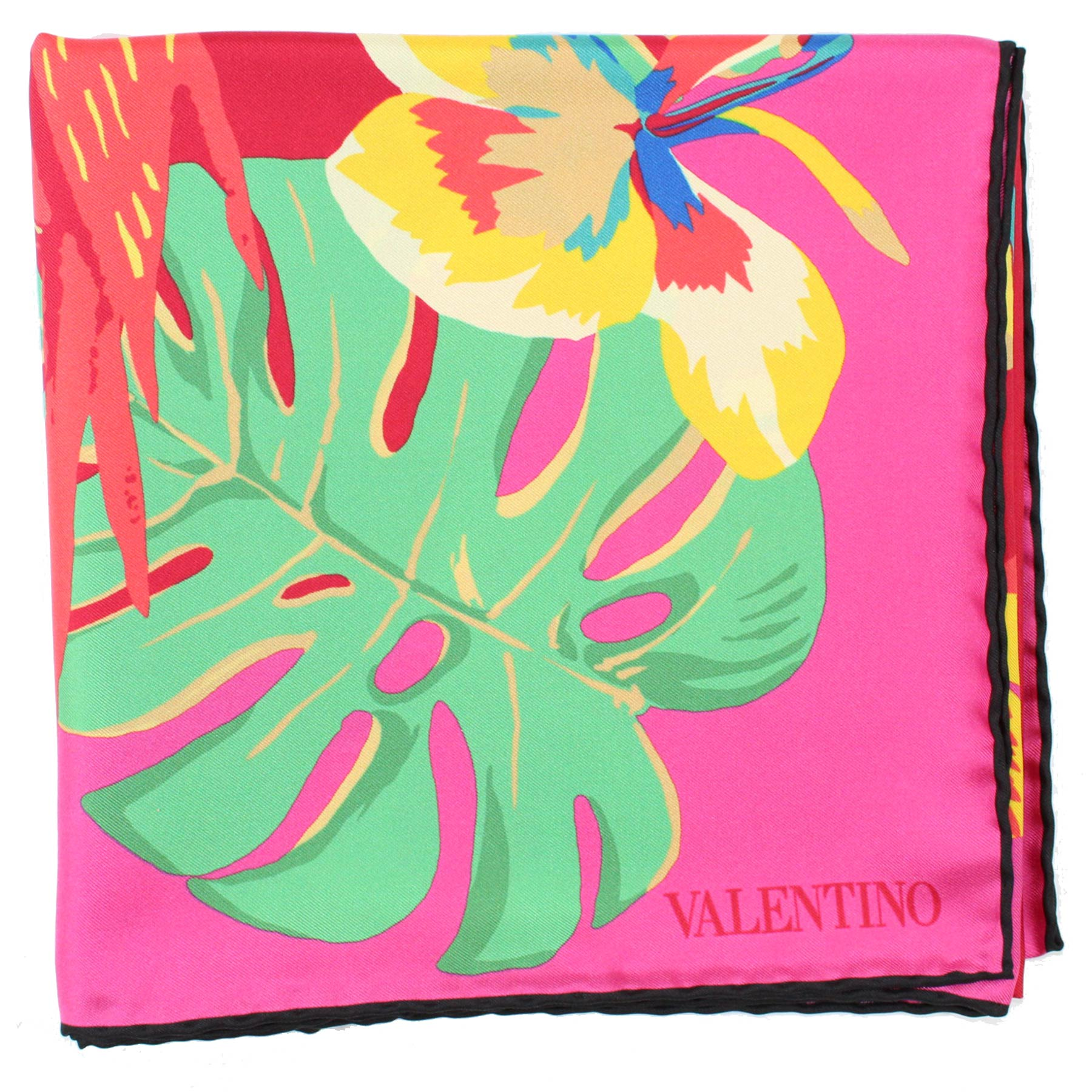 Valentino Scarf Red Pink Floral  Parrots