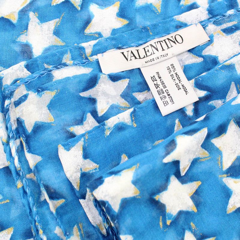 Valentino Scarf White Aqua Blue Stars - Extra Large Wrap BLACK FRIDAY SALE