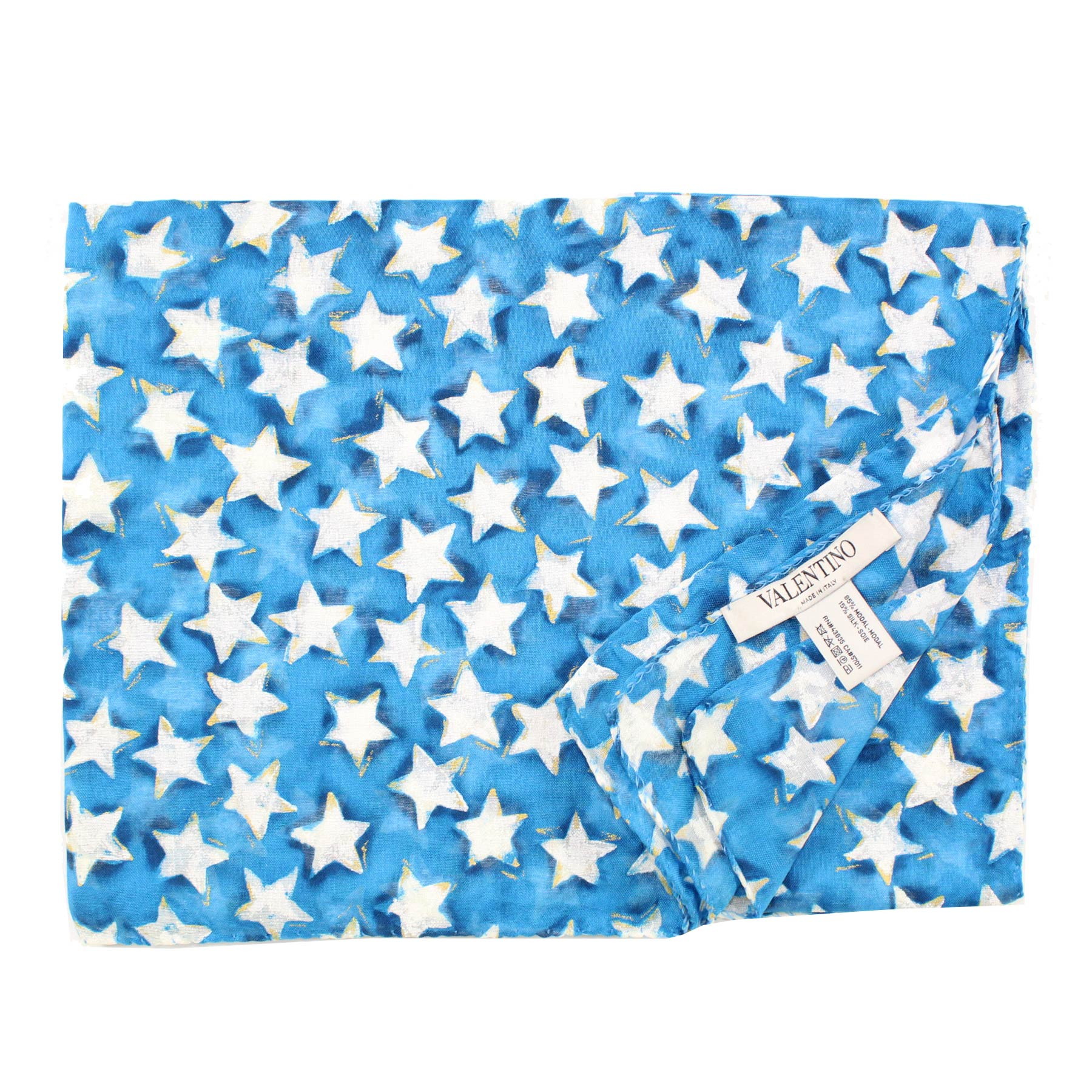 Valentino Scarf White Aqua Blue Stars - Extra Large Wrap REDUCED - FINAL SALE