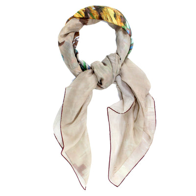 Valentino Scarf Taupe-Cream Floral  - Cotton Silk Extra Large Square Wrap