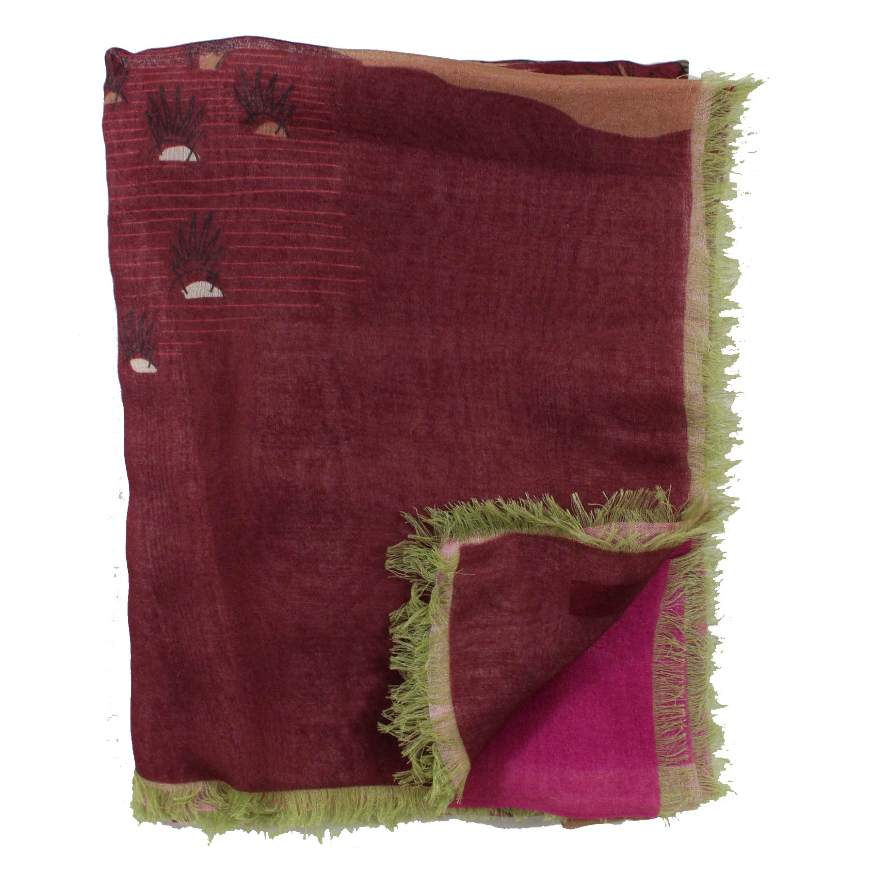 Valentino Scarf Bordeaux Design Zandra Rhodes for Valentino Cashmere Blend - Extra Large Square Wrap