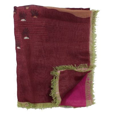 Valentino Scarf Bordeaux Design Zandra Rhodes for Valentino  - Extra Large Square Wrap