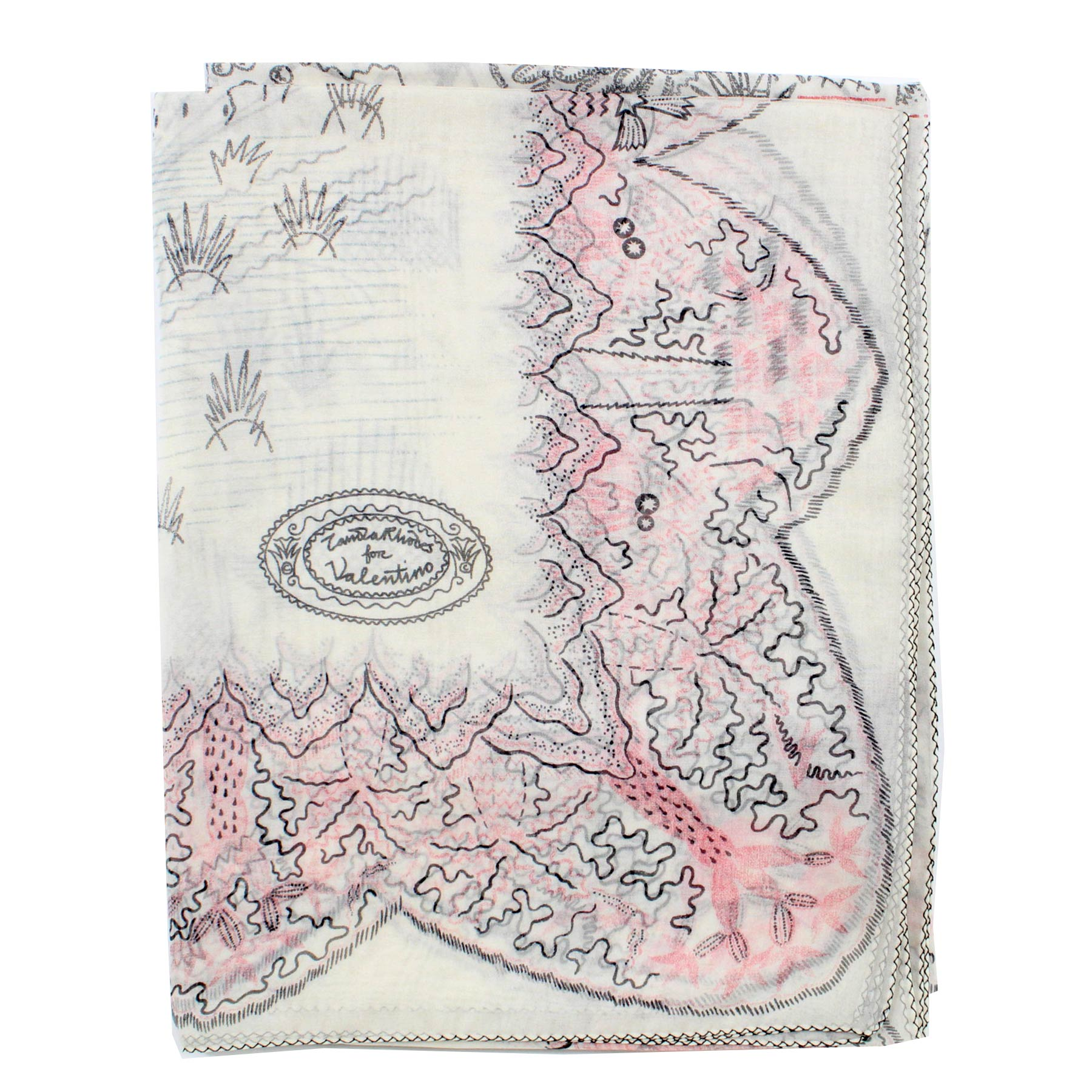 Valentino Scarf White Design - Extra Large Square Wrap