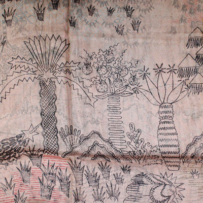 Valentino Scarf Light Brown Garden Design - Extra Large Square Chiffon Silk Wrap FINAL SALE