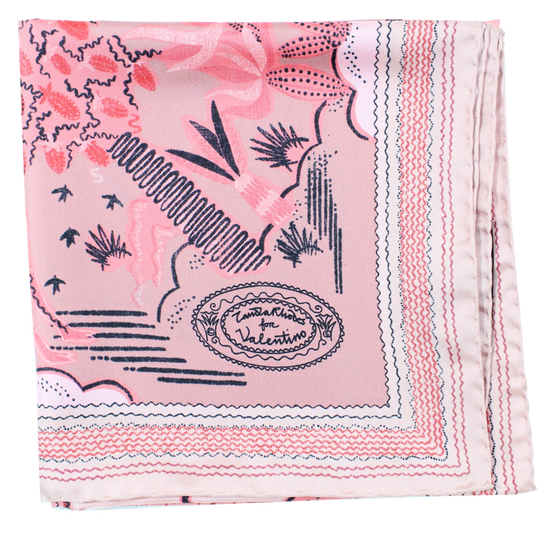 Valentino Scarf Pink Animal Drawings