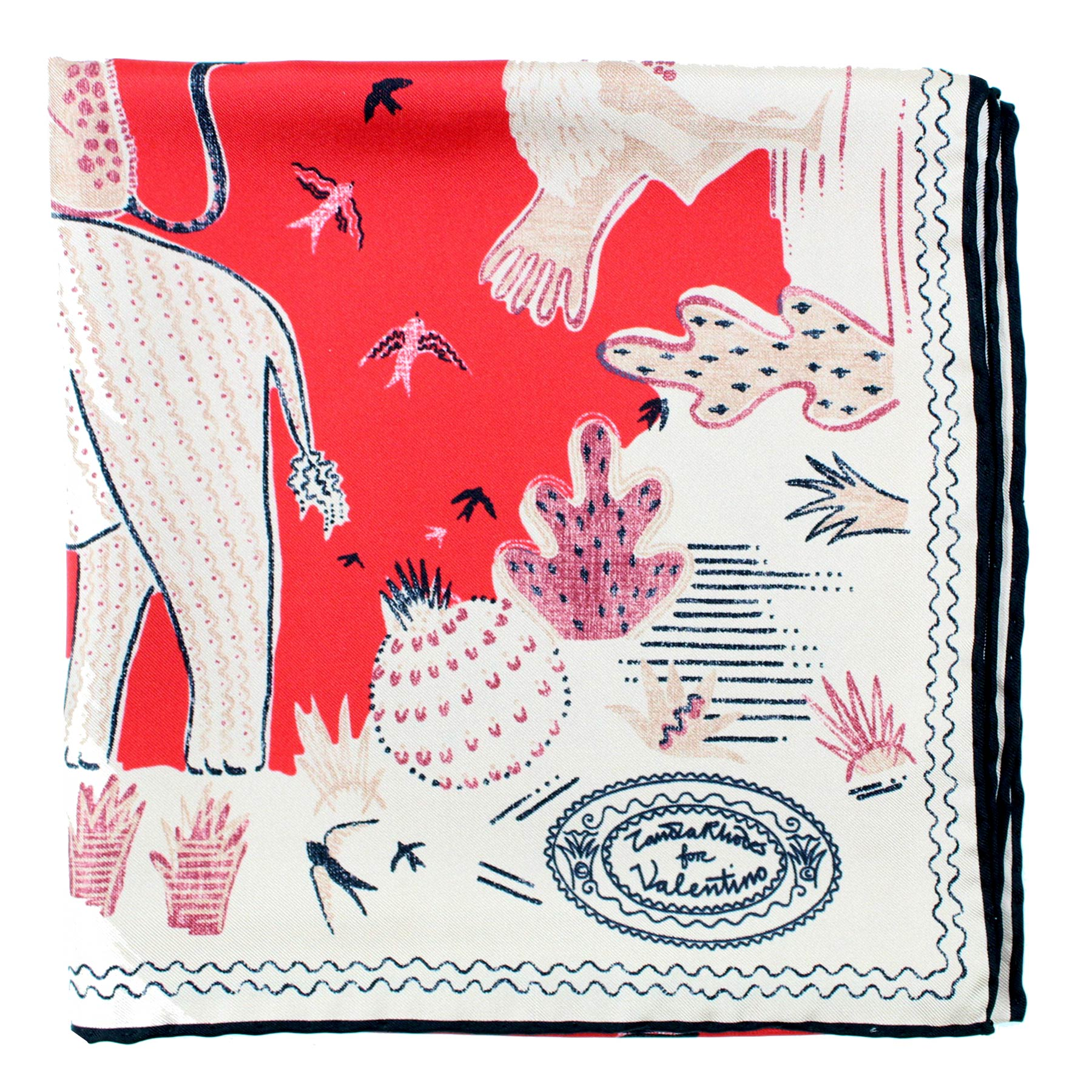 Valentino Scarf Pink Red Animal Drawings - Large Twill Silk Square Scarf
