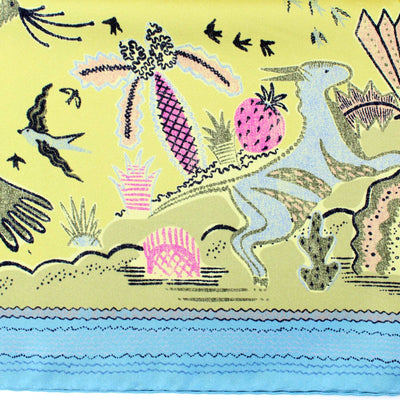 Valentino Silk Scarf Olive Sky Blue Animal Drawings - Large Twill Silk Square Scarf SALE