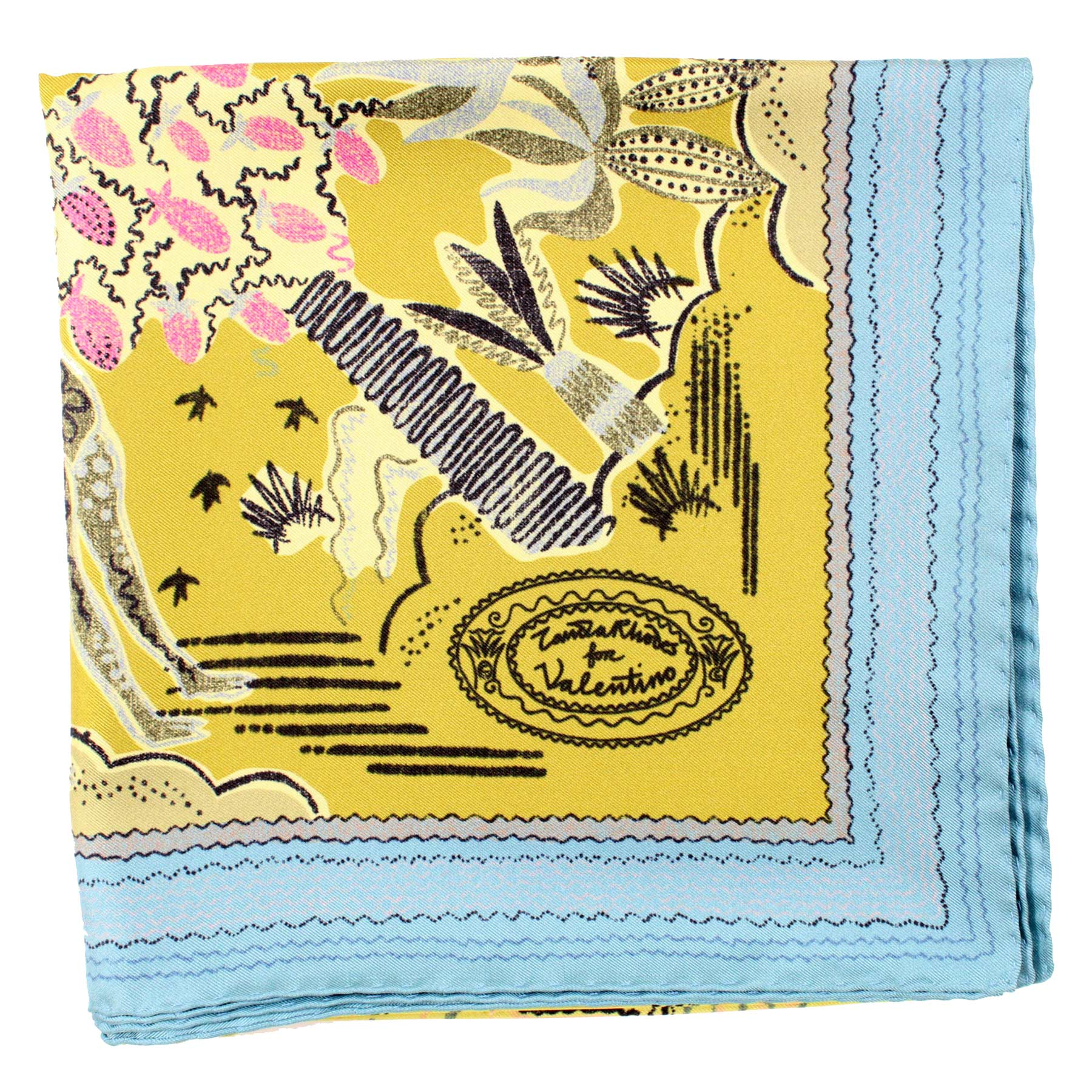 Valentino Scarf Olive Sky Blue Animal Drawings