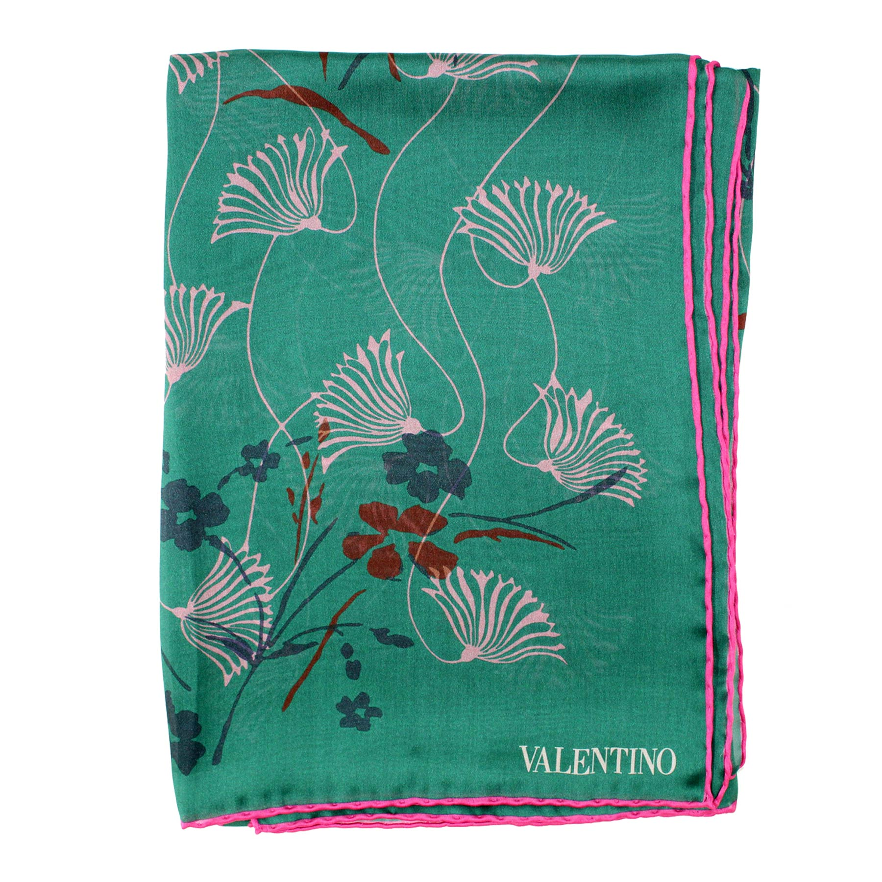 New Valentino Scarf Green Pink Floral Design