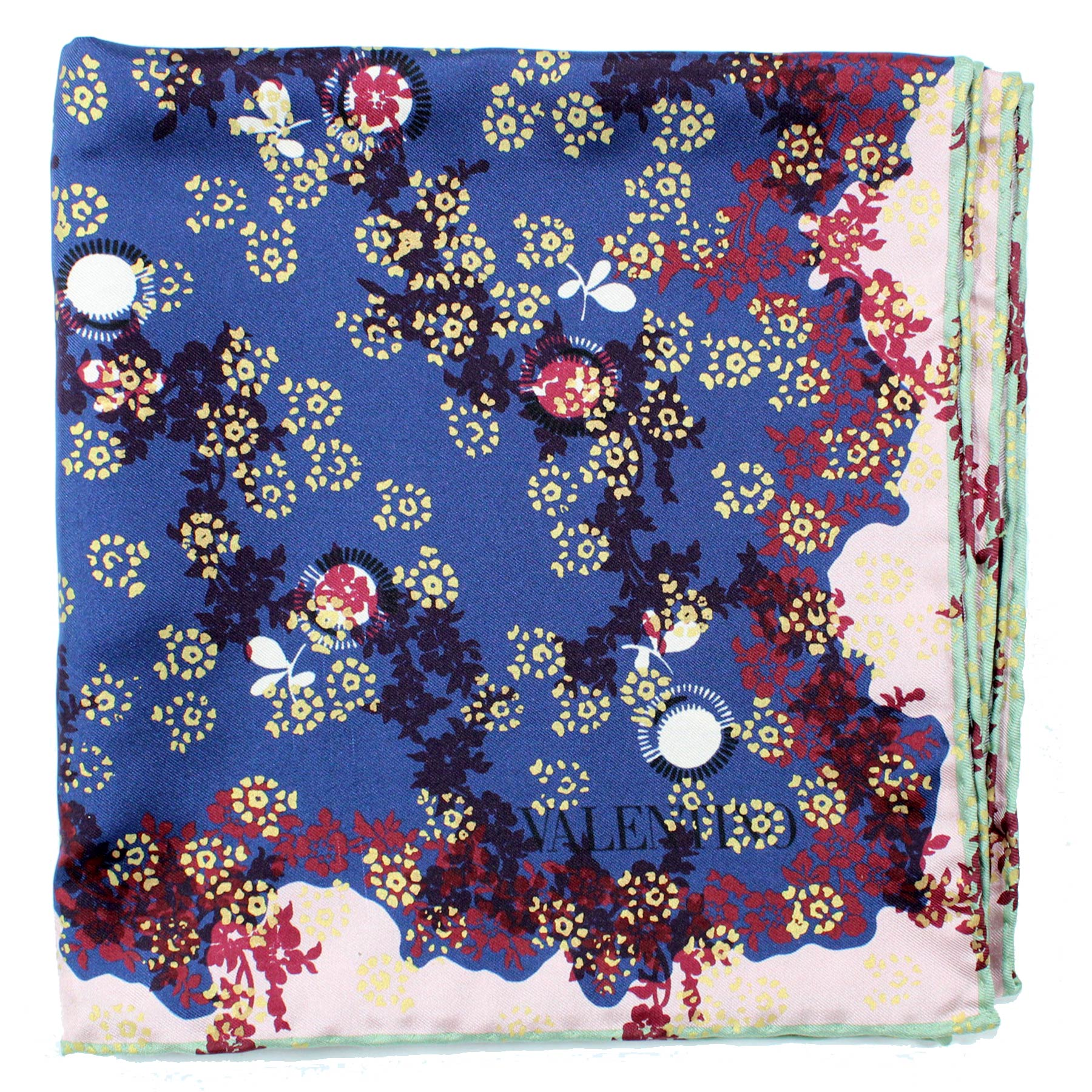 Valentino Scarf Midnight Blue Pink Design - Large Twill