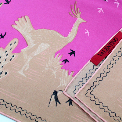 Valentino Scarf Cream Pink Animal Drawings - Large Twill Silk Square Scarf