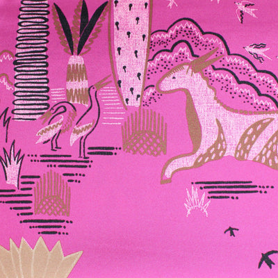 Valentino Scarf Cream Pink Animal Drawings