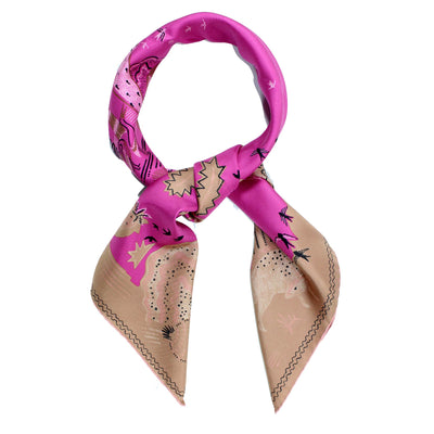Valentino Scarf Cream Pink Animal Designs