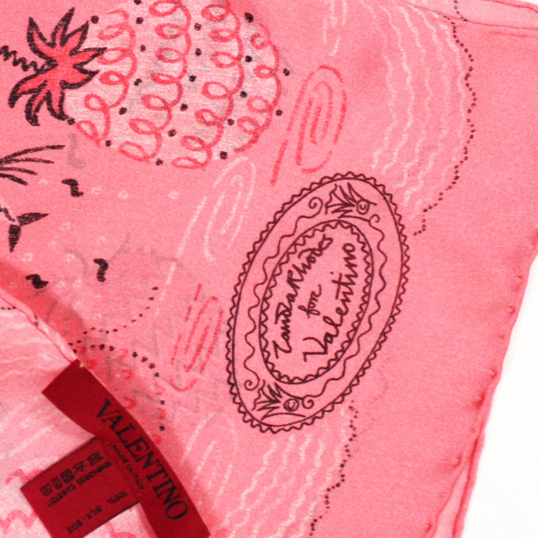 Valentino Scarf Pink Tropical Landscape