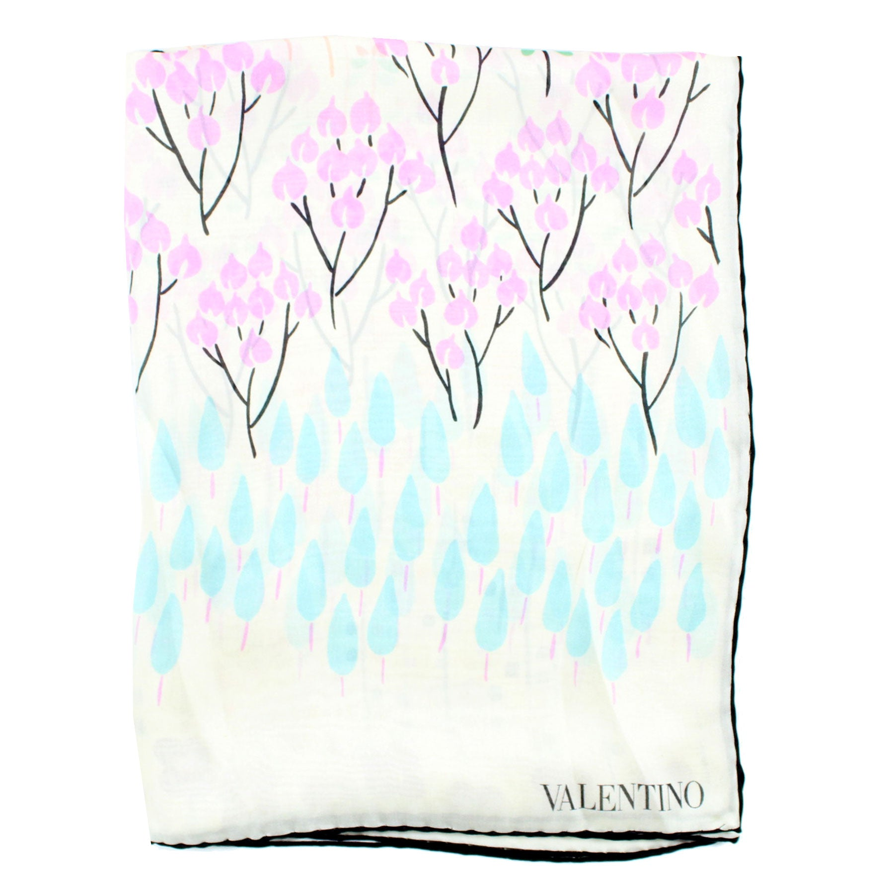Valentino Scarf White Pink Sky Blue Geometric Floral New