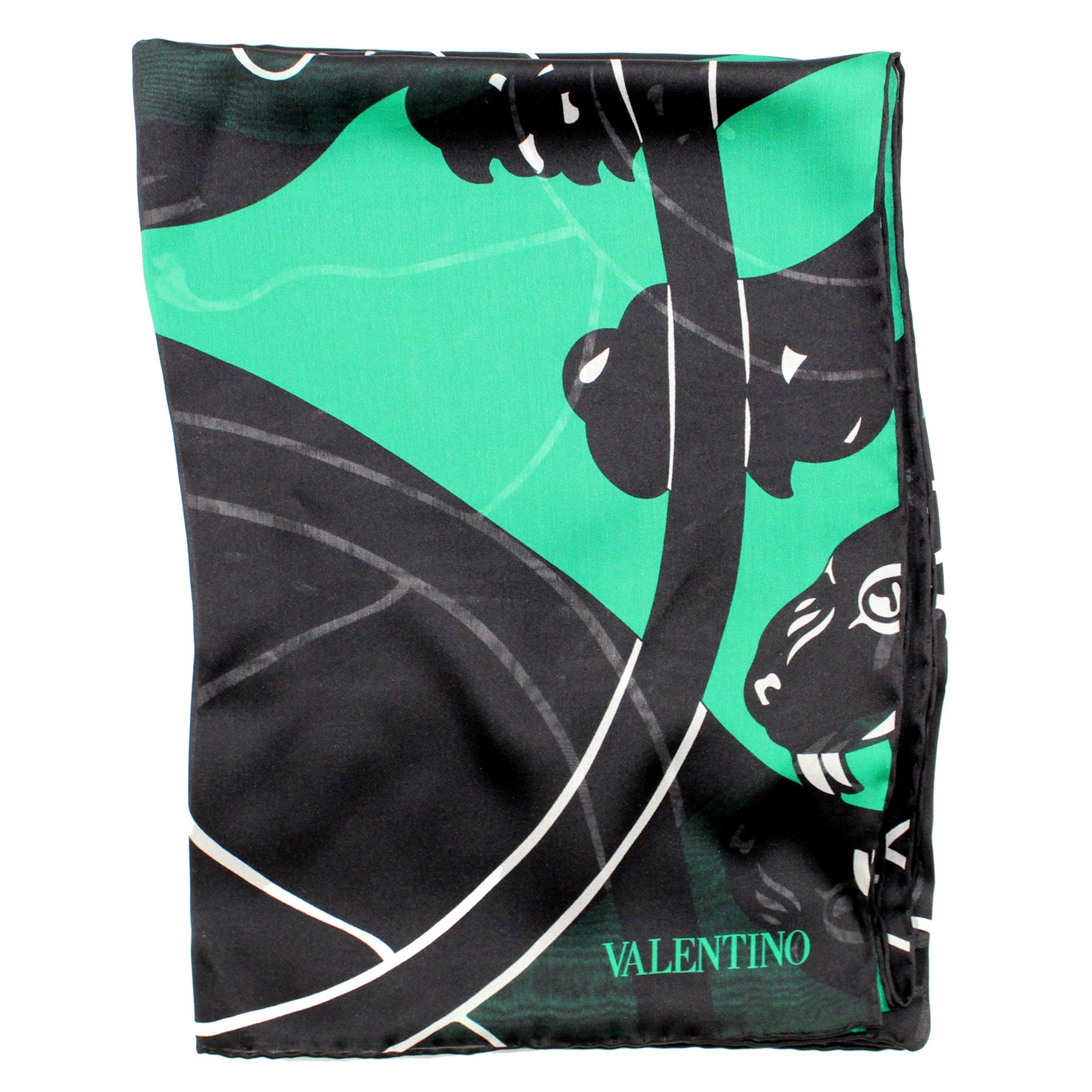 Valentino Scarf Black Green Panther - Chiffon Silk Women Shawl