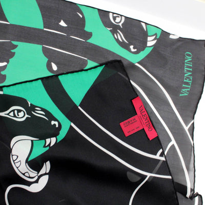 Valentino Scarf Black Green Panther
