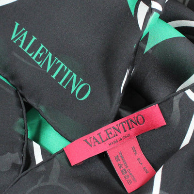 Valentino Scarf Black Green Panther  Women Shawls
