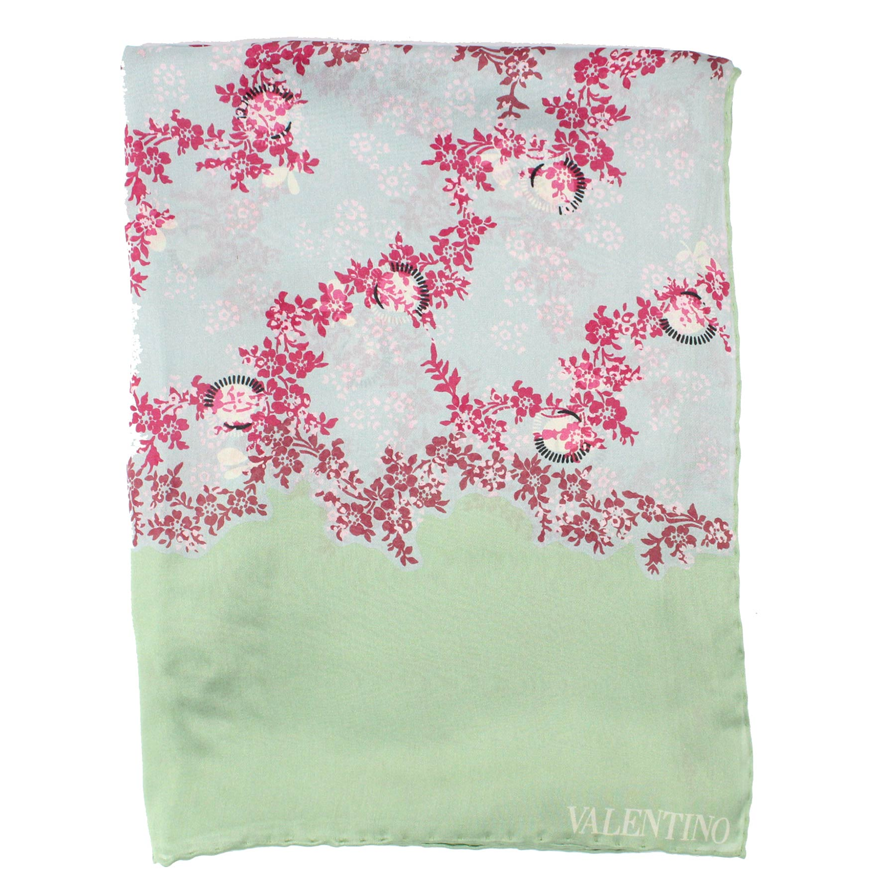 Valentino Scarf Mint Green Floral New