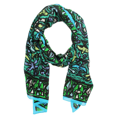 Valentino Scarf Green Purple Black Aqua Abstract Birds - Chiffon Silk Women Shawl SALE