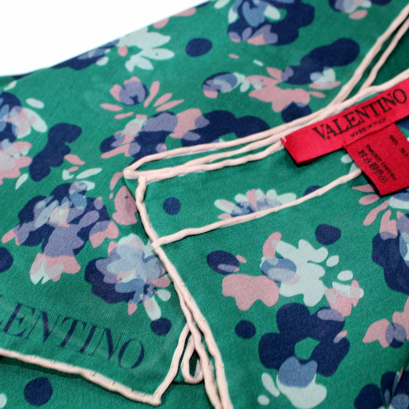Valentino Scarf Green Plum Pink Floral New