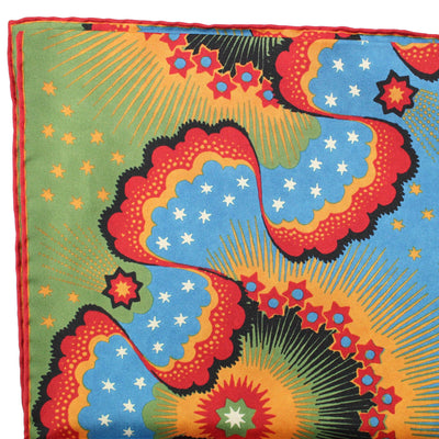 Valentino Scarf Blue Green Red Floral - Twill Silk Women Shawl FINAL SALE