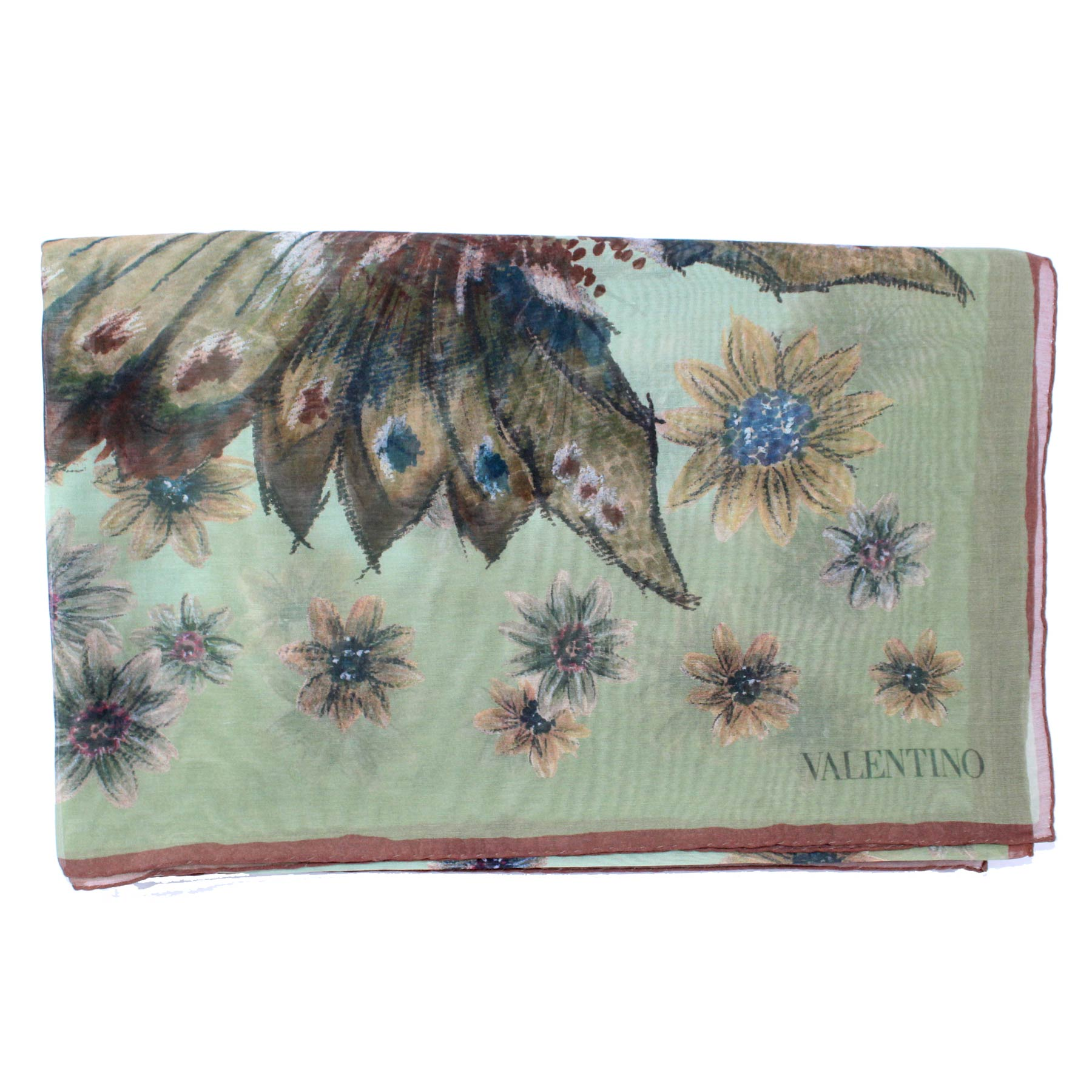 Valentino Scarf Green Brown Floral - Cotton Silk