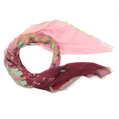 Valentino Scarf Bordeaux Pink Design Zandra Rhodes for Valentino - Extra Large Square Wrap