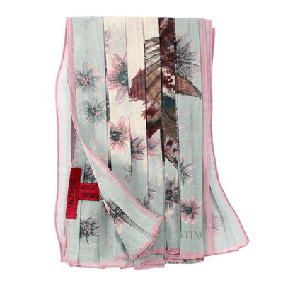 Valentino Scarf Dust Pink Gray Floral Plisse