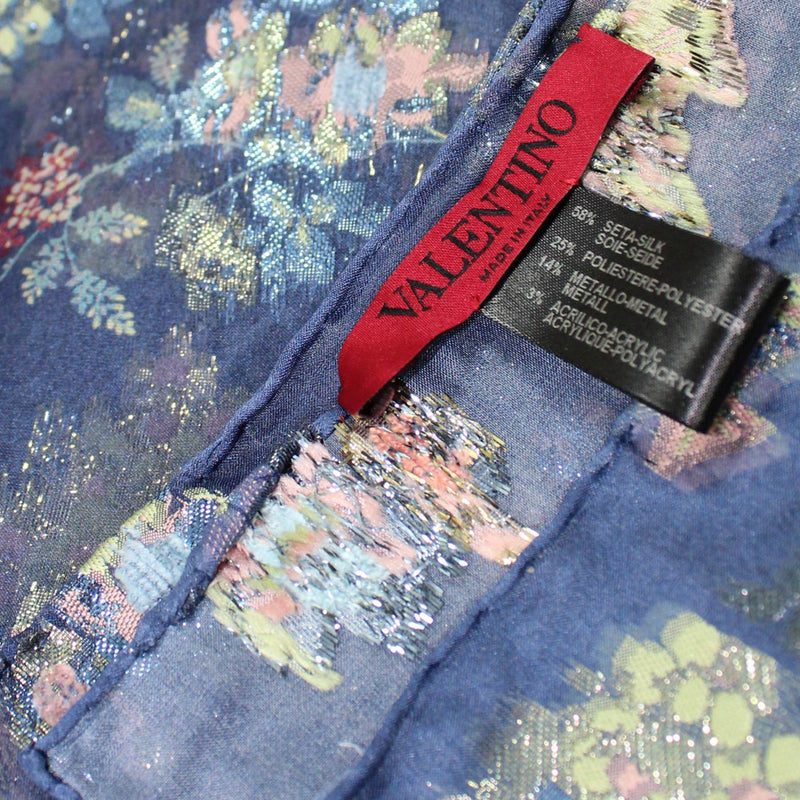 Valentino Scarf Midnight Blue Floral Design Metal-Silk