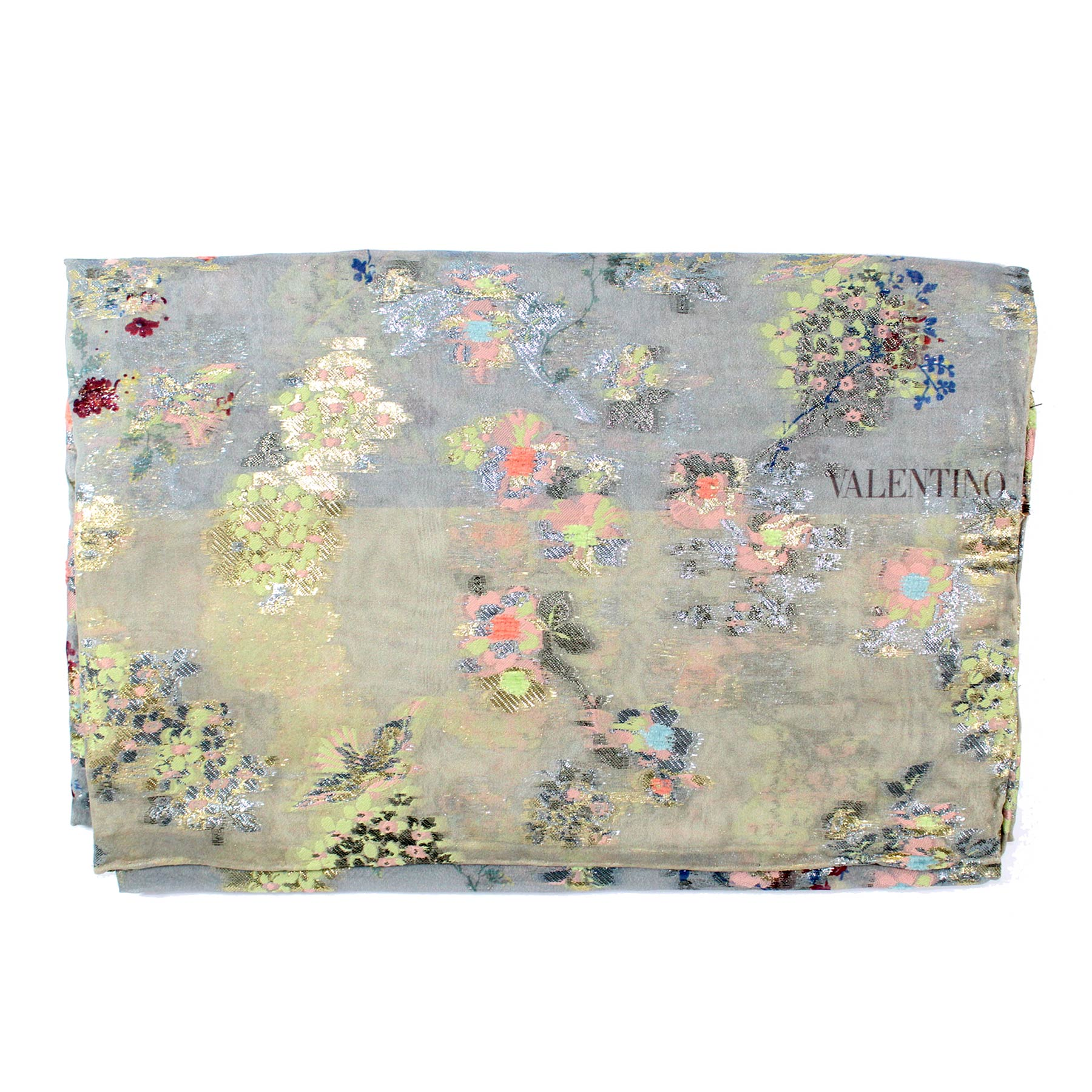Valentino Scarf Gray Pink Floral Design Metal-Silk Blend Women Shawl