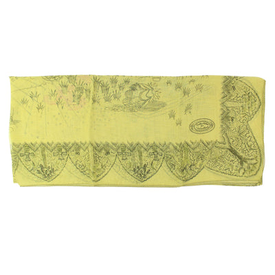 Valentino Scarf Chartreuse Hieronymus Bosch Garden Print - Extra Large Square Chiffon Silk Wrap FINAL SALE