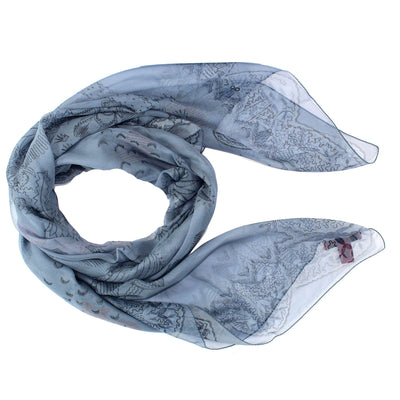 Valentino Scarf Gray Midnight Blue Hieronymus Bosch Design