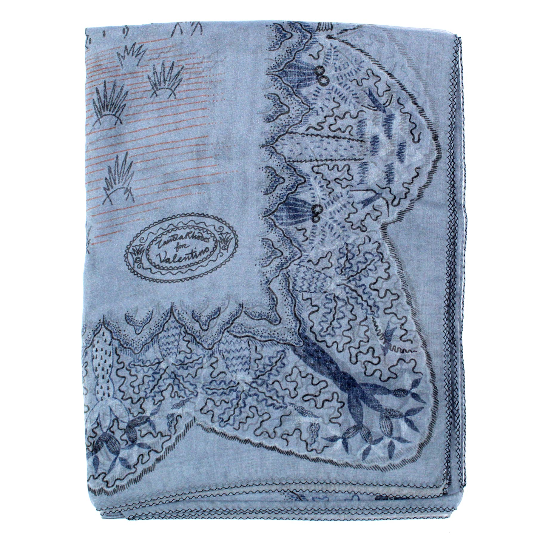 Valentino Scarf Gray Midnight Blue Hieronymus Bosch Garden - Extra Large Square Chiffon Silk Wrap SALE