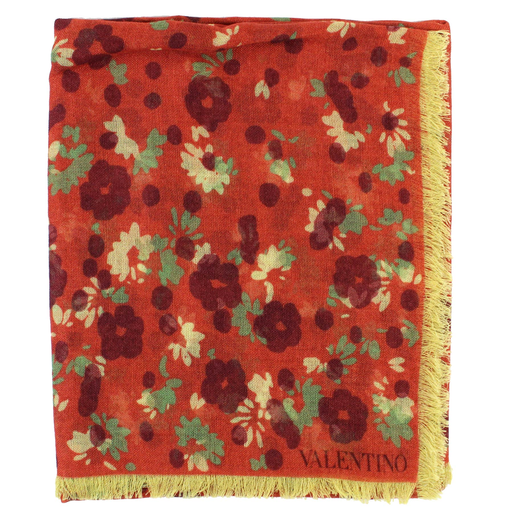 Valentino Scarf Rust Orange Floral Wool Silk - Extra Large Square Wrap