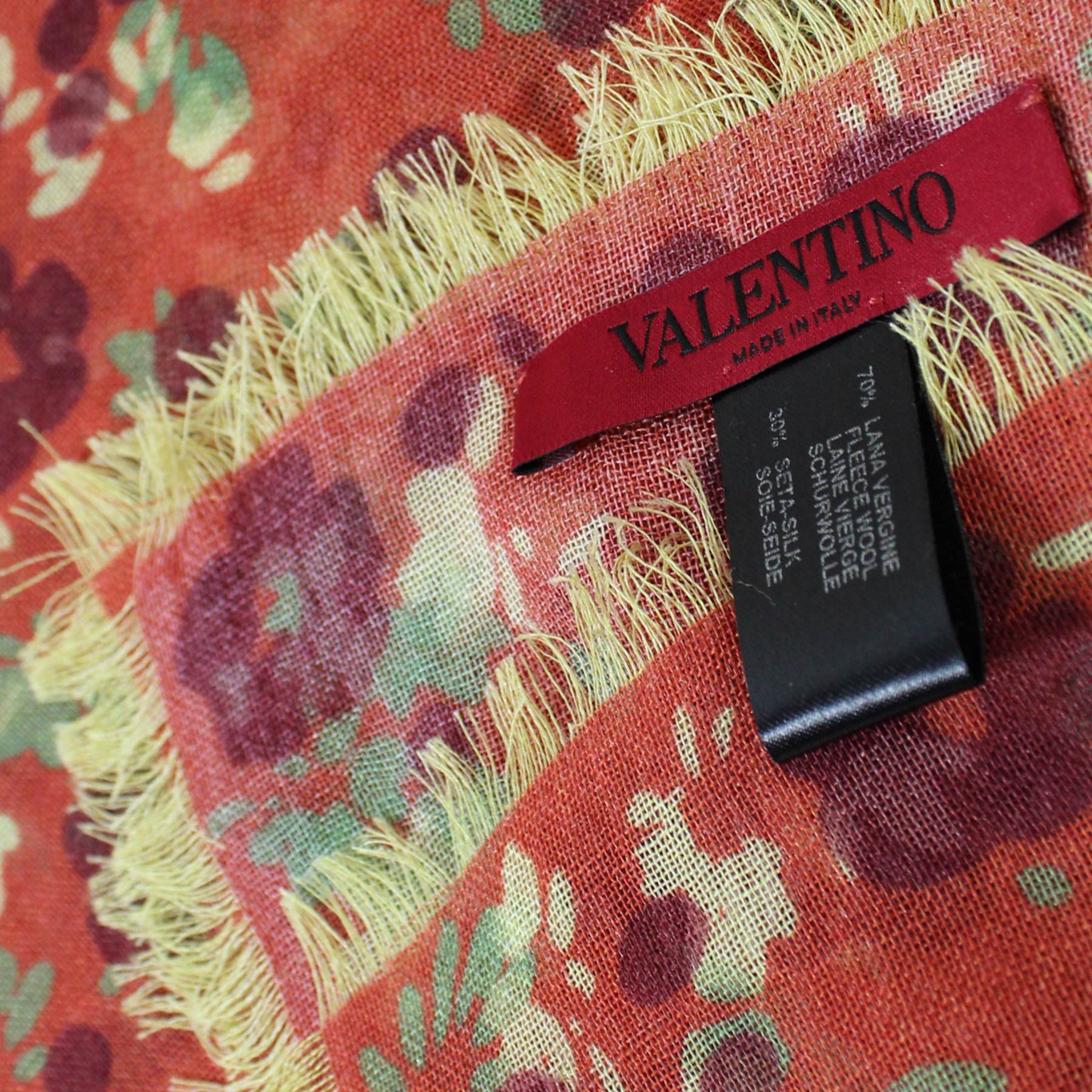 Valentino Scarf Rust Orange Floral Wool Silk - Extra Large Square Wrap SALE